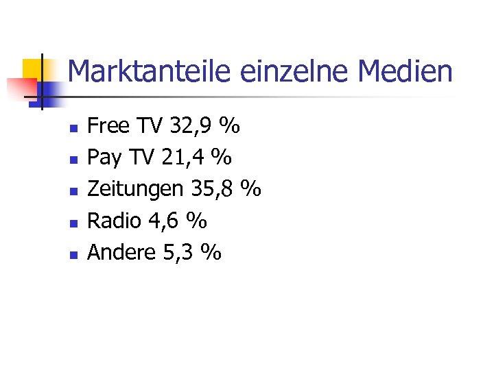 Marktanteile einzelne Medien n n Free TV 32, 9 % Pay TV 21, 4