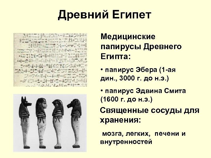 Древний Египет Медицинские папирусы Древнего Египта: • папирус Эбера (1 -ая дин. , 3000