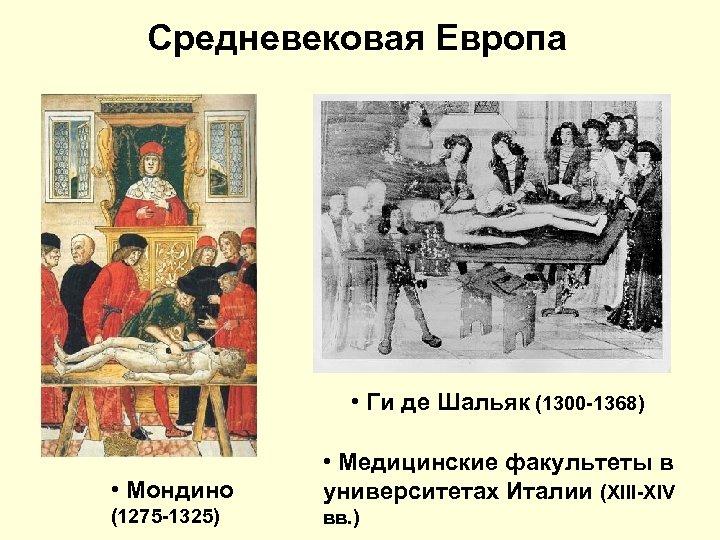 Средневековая Европа • Ги де Шальяк (1300 -1368) • Мондино • Медицинские факультеты в