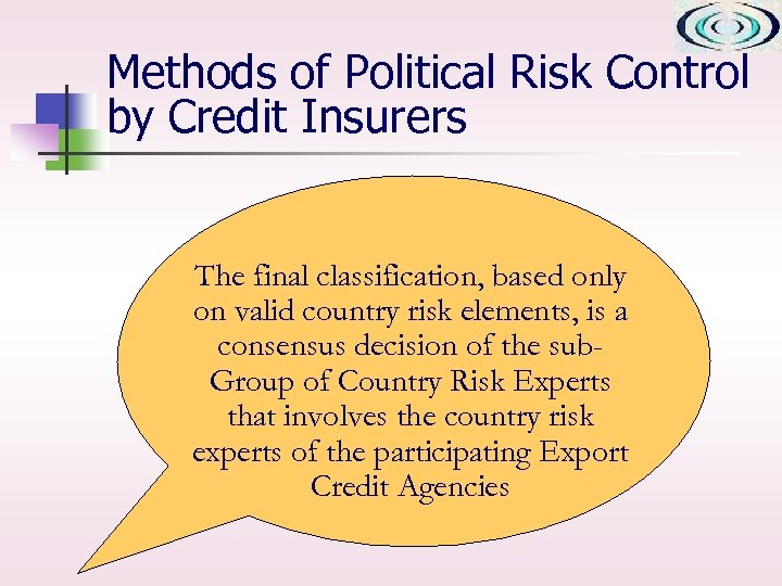 Methods of Political Risk Control by Credit Insurers The final classification, based only on
