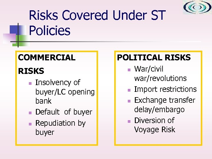 Risks Covered Under ST Policies COMMERCIAL RISKS n n n Insolvency of buyer/LC opening