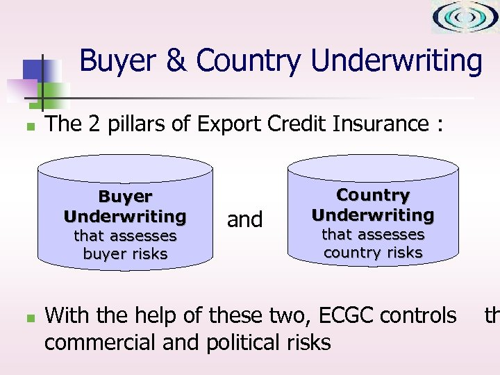 Buyer & Country Underwriting n The 2 pillars of Export Credit Insurance : Buyer