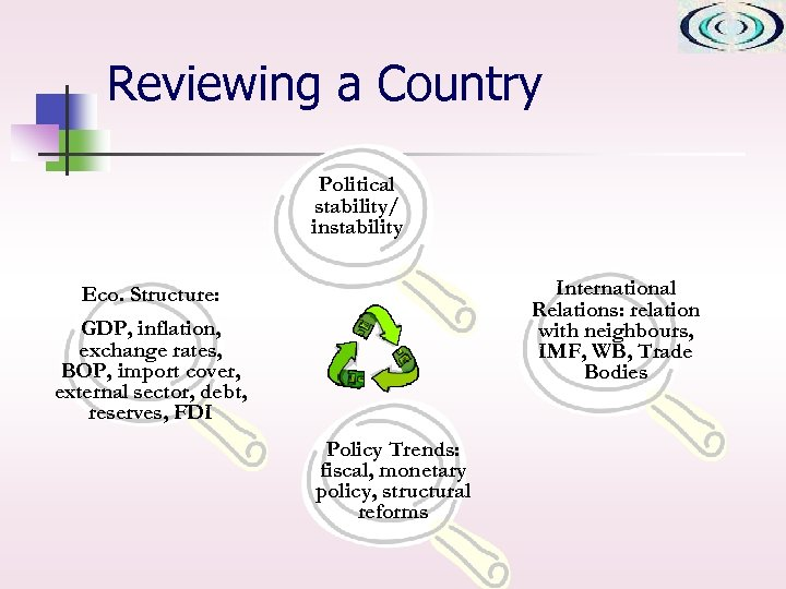 Reviewing a Country Political stability/ instability International Relations: relation with neighbours, IMF, WB, Trade