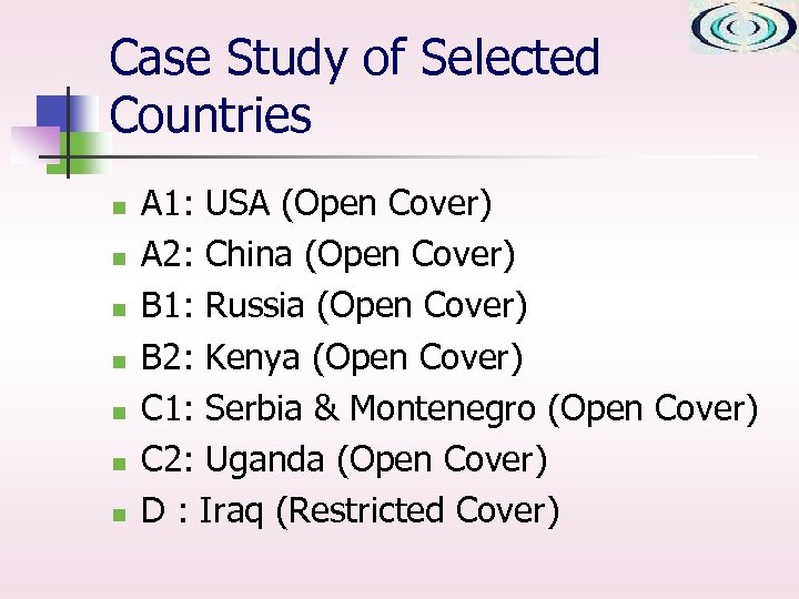 Case Study of Selected Countries n n n n A 1: USA (Open Cover)