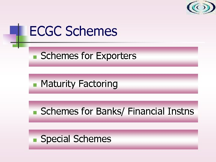 ECGC Schemes n Schemes for Exporters n Maturity Factoring n Schemes for Banks/ Financial