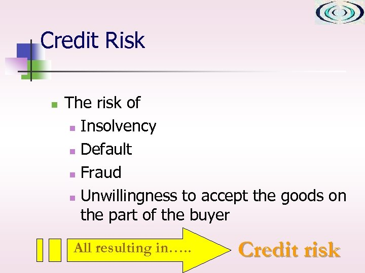 Credit Risk n The risk of n Insolvency n Default n Fraud n Unwillingness