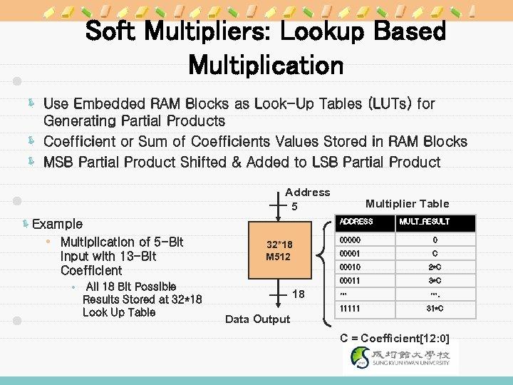 Soft Multipliers: Lookup Based Multiplication ë Use Embedded RAM Blocks as Look-Up Tables (LUTs)