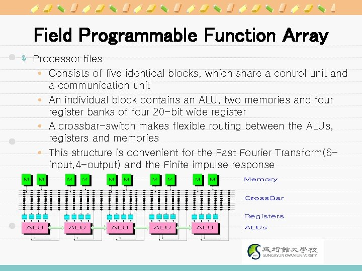 Field Programmable Function Array ë Processor tiles Consists of five identical blocks, which share