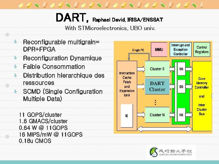 DART, Raphael David, IRISA/ENSSAT With STMicroelectronics, UBO univ. ë Reconfigurable multigrain= DPR+FPGA ë Reconfiguration