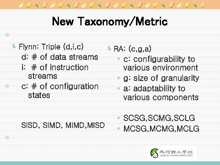 New Taxonomy/Metric ë Flynn: Triple (d, i, c) d: # of data streams i: