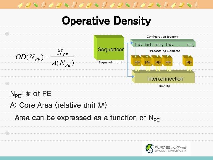 Operative Density Configuration Memory N PE OD( N PE ) = A( N PE