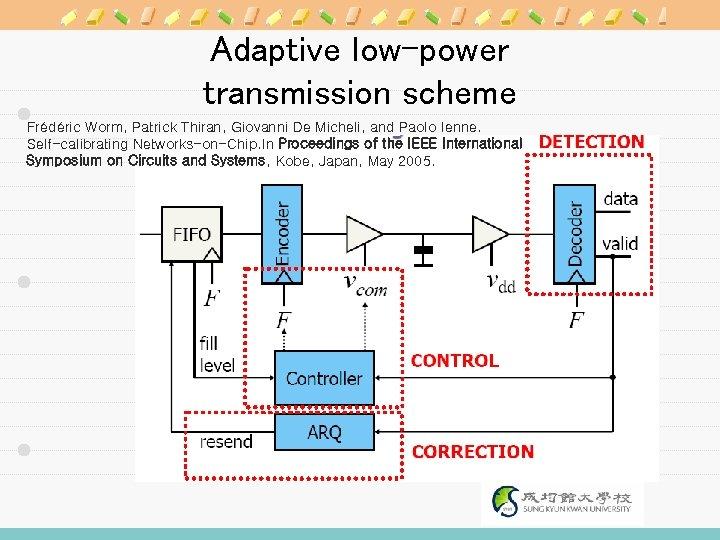 Adaptive low-power transmission scheme Frédéric Worm, Patrick Thiran, Giovanni De Micheli, and Paolo Ienne.