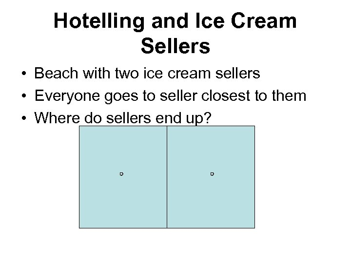 Hotelling and Ice Cream Sellers • Beach with two ice cream sellers • Everyone
