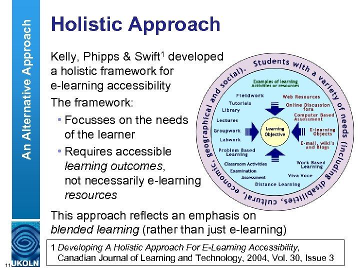 An Alternative Approach Holistic Approach Kelly, Phipps & Swift 1 developed a holistic framework