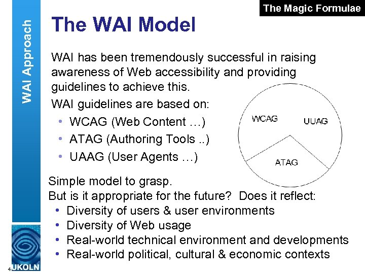 WAI Approach The WAI Model The Magic Formulae WAI has been tremendously successful in