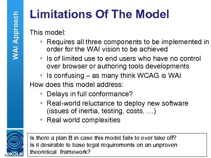 WAI Approach 5 Limitations Of The Model This model: • Requires all three components