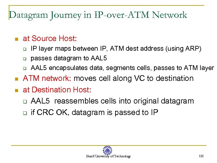 Datagram Journey in IP-over-ATM Network n at Source Host: q q q n n