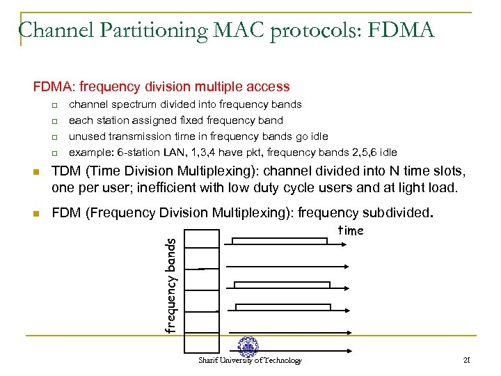Channel Partitioning MAC protocols: FDMA: frequency division multiple access q q n TDM (Time