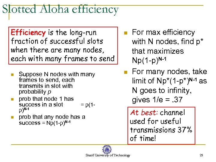 Slotted Aloha efficiency Efficiency is the long-run fraction of successful slots when there are