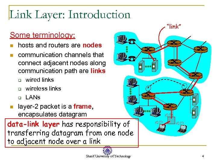 "Link Layer: Introduction ""link"" Some terminology: n n hosts and routers are nodes communication"