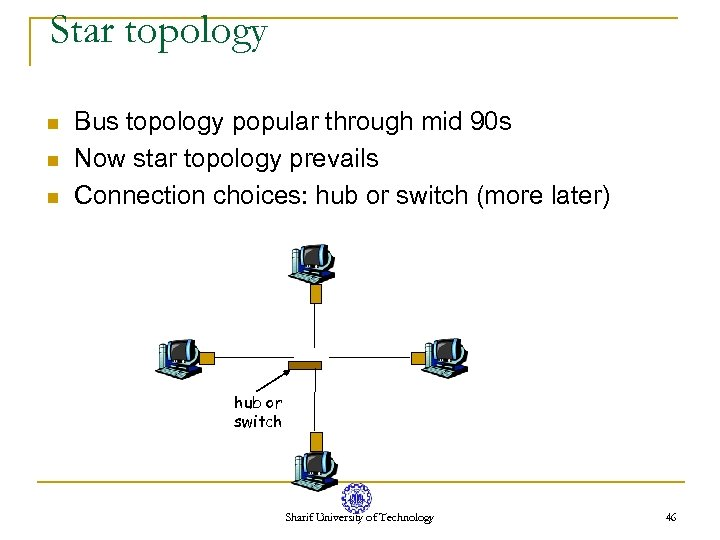 Star topology n n n Bus topology popular through mid 90 s Now star