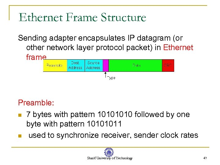 Ethernet Frame Structure Sending adapter encapsulates IP datagram (or other network layer protocol packet)
