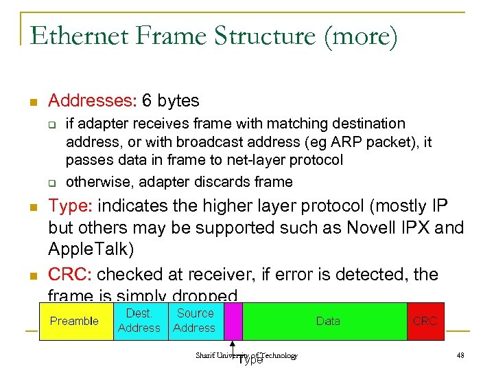 Ethernet Frame Structure (more) n Addresses: 6 bytes q q n n if adapter