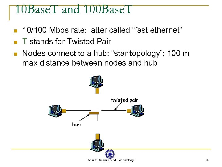 10 Base. T and 100 Base. T n n n 10/100 Mbps rate; latter