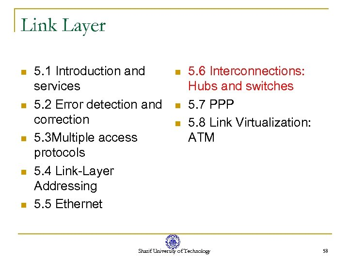 Link Layer n n n 5. 1 Introduction and services 5. 2 Error detection