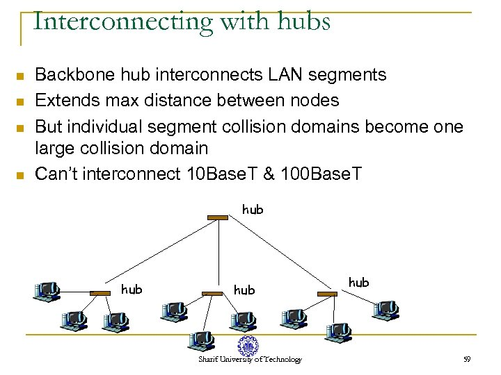 Interconnecting with hubs n n Backbone hub interconnects LAN segments Extends max distance between