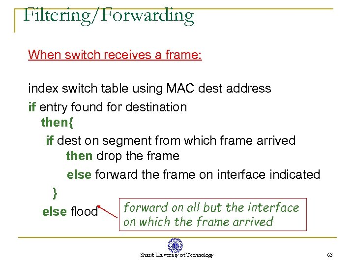Filtering/Forwarding When switch receives a frame: index switch table using MAC dest address if