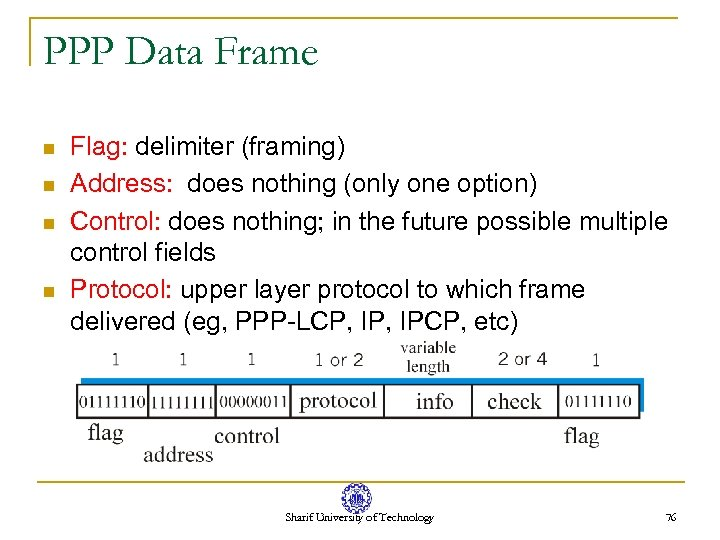 PPP Data Frame n n Flag: delimiter (framing) Address: does nothing (only one option)