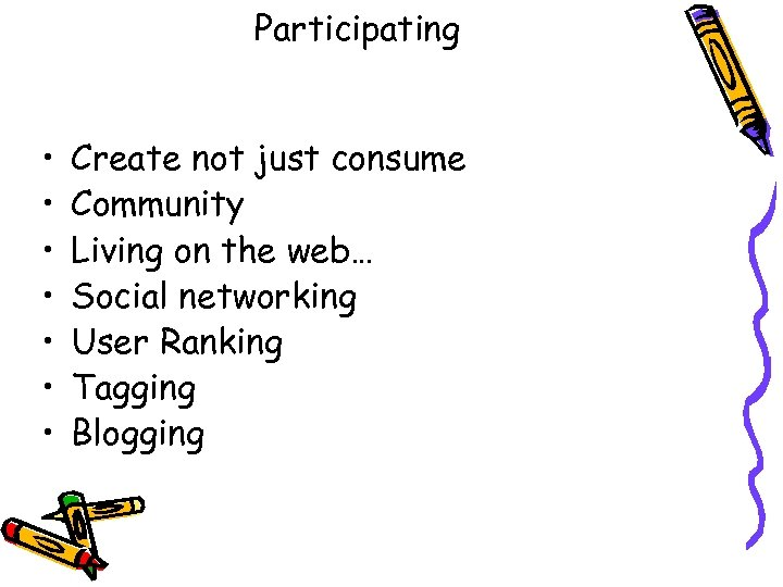 Participating • • Create not just consume Community Living on the web… Social networking