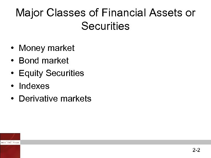 Major Classes of Financial Assets or Securities • • • Money market Bond market
