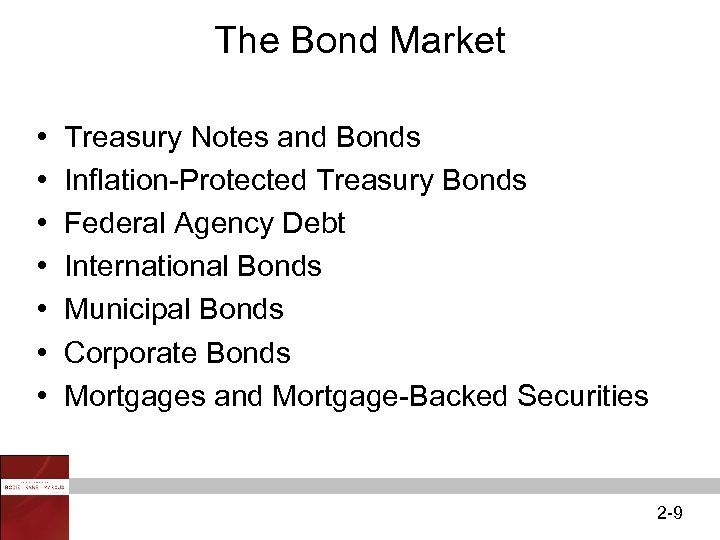 The Bond Market • • Treasury Notes and Bonds Inflation-Protected Treasury Bonds Federal Agency