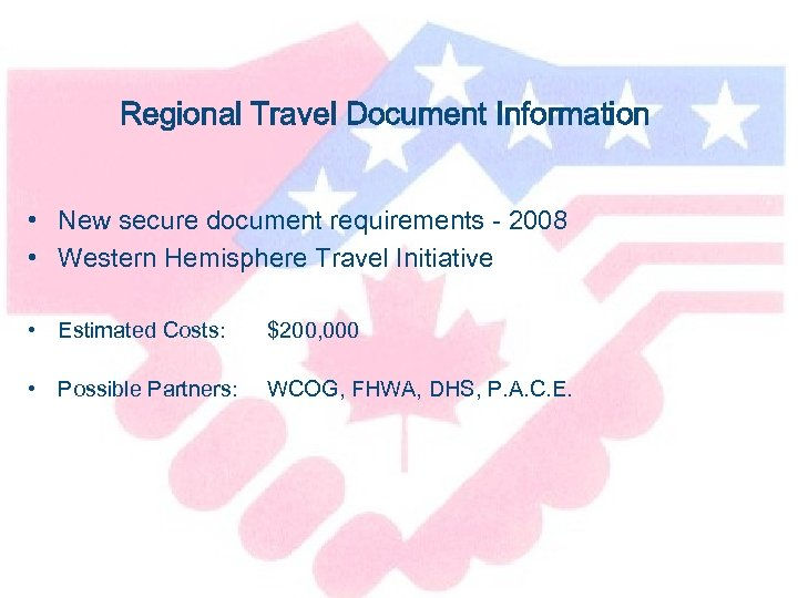 Regional Travel Document Information • New secure document requirements - 2008 • Western Hemisphere