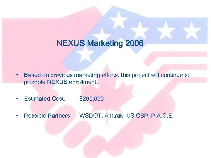NEXUS Marketing 2006 • Based on previous marketing efforts, this project will continue to