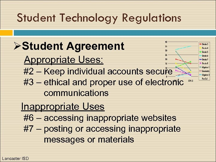 Student Technology Regulations ØStudent Agreement Appropriate Uses: #2 – Keep individual accounts secure #3