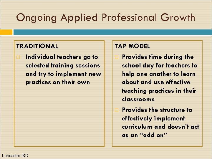 Ongoing Applied Professional Growth TRADITIONAL Individual teachers go to selected training sessions and try