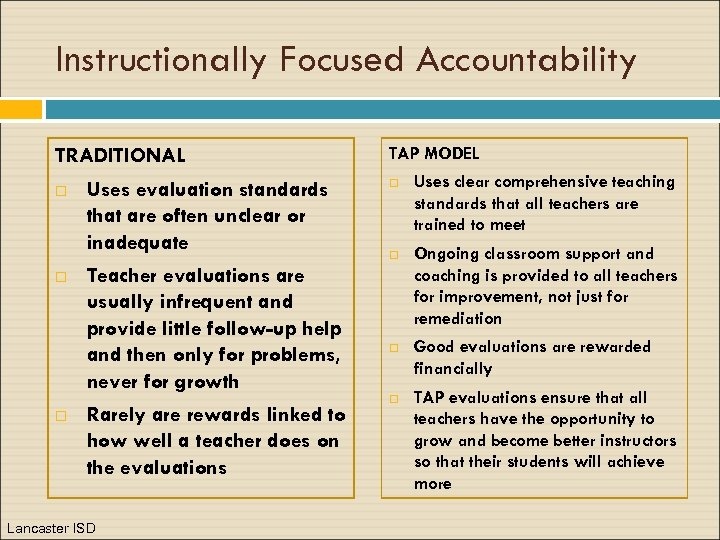 Instructionally Focused Accountability TRADITIONAL Uses evaluation standards that are often unclear or inadequate Teacher