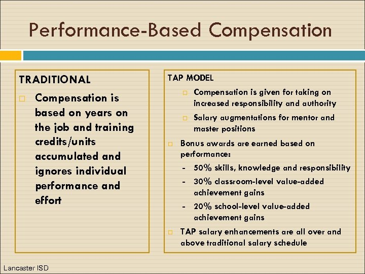Performance-Based Compensation TRADITIONAL Compensation is based on years on the job and training credits/units
