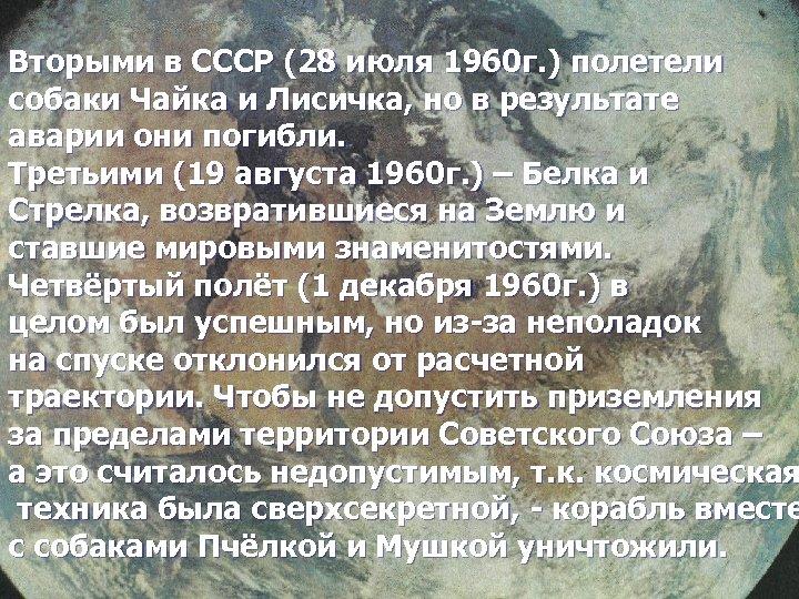 Вторыми в СССР (28 июля 1960 г. ) полетели собаки Чайка и Лисичка, но