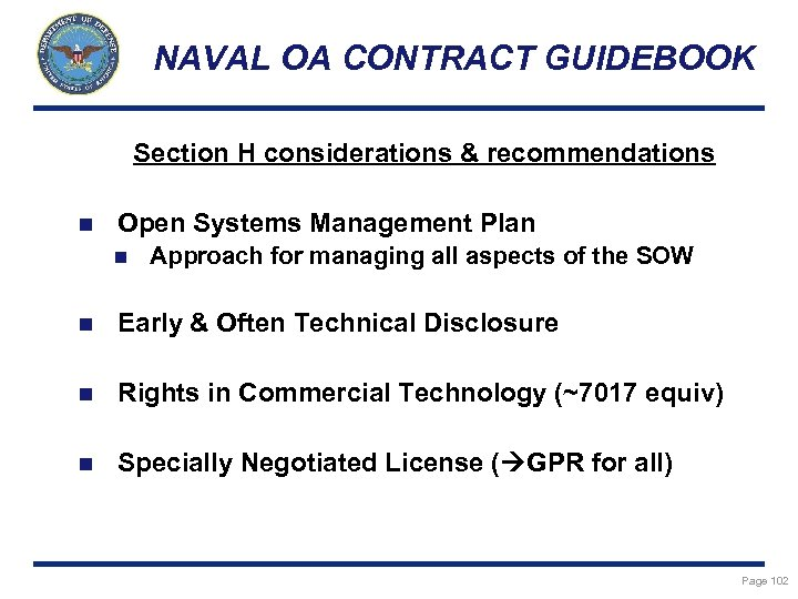 NAVAL OA CONTRACT GUIDEBOOK Section H considerations & recommendations n Open Systems Management Plan