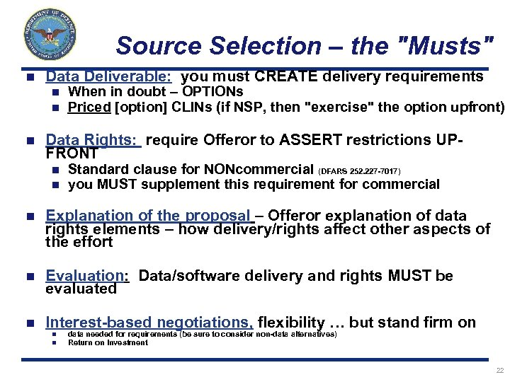 Source Selection – the