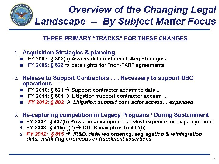 """Overview of the Changing Legal Landscape -- By Subject Matter Focus THREE PRIMARY """"TRACKS"""""""