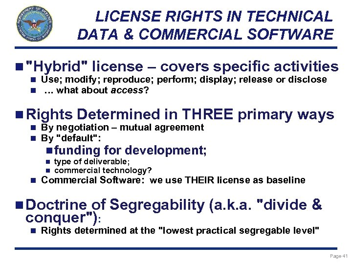 LICENSE RIGHTS IN TECHNICAL DATA & COMMERCIAL SOFTWARE n