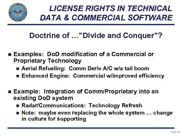 LICENSE RIGHTS IN TECHNICAL DATA & COMMERCIAL SOFTWARE Doctrine of …