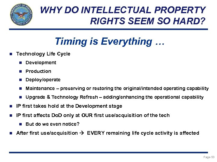 WHY DO INTELLECTUAL PROPERTY RIGHTS SEEM SO HARD? Timing is Everything … n Technology