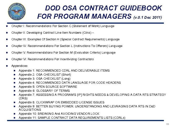 DOD OSA CONTRACT GUIDEBOOK FOR PROGRAM MANAGERS (v. 0. 1 Dec 2011) n Chapter