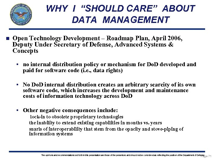"""WHY I """"SHOULD CARE"""" ABOUT DATA MANAGEMENT n Open Technology Development – Roadmap Plan,"""